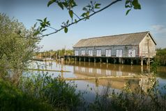 Scotch Pond Net Shed, Steveston, Canada. The historic net shed at Garry Point, Steveston. Richmond, BC Stock Images
