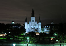Historic New Orleans. NEW ORLEANS LOUISIANA  - DECEMBER 7, 2005:  St Louis Cathedral on a quiet night Stock Photos