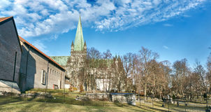 Historic Nidaros Cathedral in Trondheim, Norway stock images