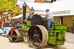 Historic Noyes Bros steamroller in Echuca. Historic Noyes Bros steam roller in Echuca, Australia.. Echuca sits on the River, just across the river from the New Stock Image