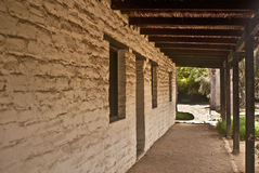 Historic Old Adobe Hallway. This is a picture of the a historic adobe hallway at the Los Angeles County Arboretum in Arcadia, California Royalty Free Stock Photography