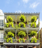 Historic old buildings with iron balconies in French Quarter Stock Image
