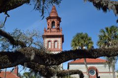 Historic Old Church  (Pres). Historic Old Presbyterian Church in St' Augustine, Florida. Seen through a large old live oak Stock Photography