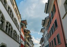 Historic old city of Zug in Switzerland with ist colorful bourgeoisie houses and. The historic old city of Zug in Switzerland with ist colorful bourgeoisie royalty free stock images