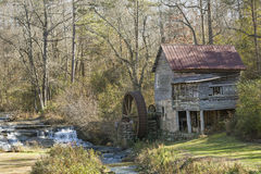 Historic Old Grist Mill in Northern Georgia. Historic mid-1800s Laudermilk grist mill next to a stream - Habersham County, Georgia Royalty Free Stock Photos