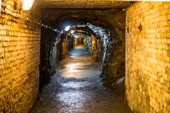 Corridors and drifts in the mine. Historic old mine and its dark corridors stock photos