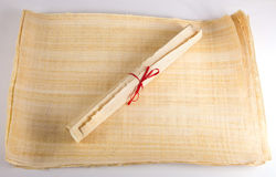Historic old papyrus roll blank message Stock Photography