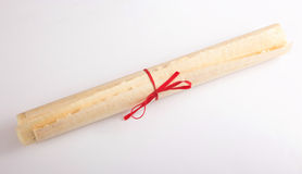 Historic old papyrus roll message Stock Image