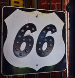 Historic old Route 66 sign. Royalty Free Stock Photo