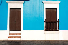 Historic Old San Juan - Brown Doors, Blue Walls Stock Image