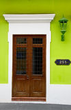 Historic Old San Juan Vivid Green Walls Brown Door Stock Photography