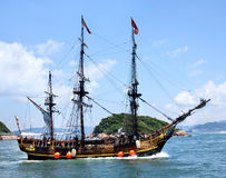 Historic old ship in the ocean. Near the islands and beautiful panorama Royalty Free Stock Images