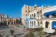 The historic Old Square or Plaza Vieja in the colonial neighborh Stock Photos