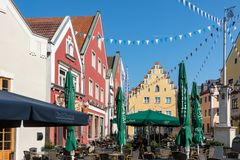 Historic old town of Abensberg stock photography