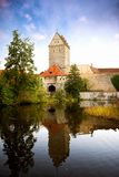 Historic old town of Dinkelsbuhl, reflecting in the river. landmark at the romantic road middle Franconia, Germany royalty free stock image