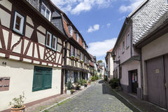 Historic old town Frankfurt-Hoechst with its half-timbered hous Royalty Free Stock Image