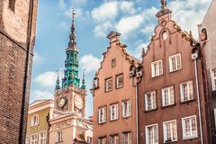 Historic Old Town in Gdansk. Historic Old Town with the town hall on Long Market of Gdansk in Poland Royalty Free Stock Photo