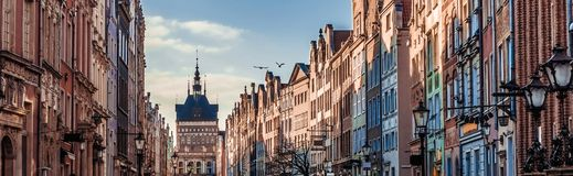 Historic Old Town of Gdansk in Poland. Historic Old Town with the town hall on Long Market of Gdansk in Poland Stock Photo