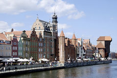 Historic Old Town of Gdansk in Poland. Historic Old Town of Gdansk with the old Harbor on the Motlawa in Poland Stock Images