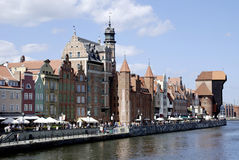 Historic Old Town of Gdansk in Poland. Historic Old Town of Gdansk with the old Harbor on the Motlawa in Poland Stock Image