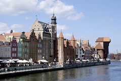 Historic Old Town of Gdansk in Poland. Historic Old Town of Gdansk with the old Harbor on the Motlawa in Poland Stock Photo