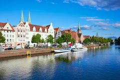 Historic old town Luebeck at the river trave Royalty Free Stock Images