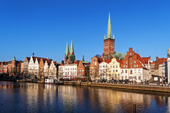 Historic old town luebeck at the river trave, tourism attraction Stock Photos