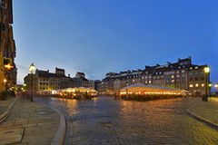Historic Old Town in Warsaw during sundown Stock Photo