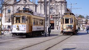 Free Historic Old Tram Cars In Porto, Portugal Royalty Free Stock Images - 144616659
