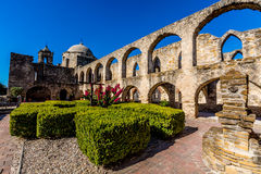 The Historic Old West Spanish Mission San Jose, Founded in 1720, San Antonio, Texas, USA. Showing dome, bell tower, and cross in. The Historic Old West Spanish royalty free stock image