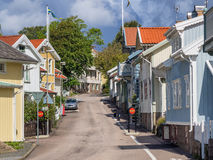 Historic old wooden house in Lysekil, Sweden Stock Photos