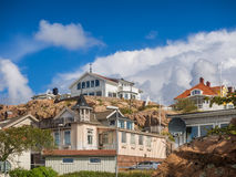 Historic old wooden houses in Lysekil, Sweden Stock Photos