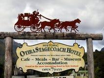 Historic Otira Stagecoach Hotel, New Zealand. Historic Otira Stagecoach Hotel and museum - Advertising banner. Arthur`s Pass National Park. New Zealand Stock Images