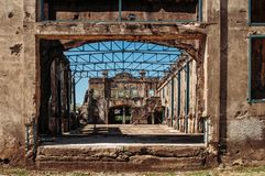 Historic Pacific war Army barracks ruins Corregidor Island, Mani royalty free stock photo