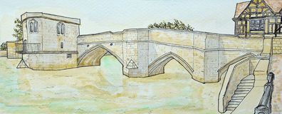Historic packhorse bridge at St Ives Cambridgeshire Stock Images
