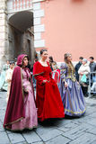 Historic Parade in Taggia. Event: Celebration in honour of Saint Benedict, 29° edition. Since 1626 the city celebrate the saint with the Fire's Day, the Stock Images