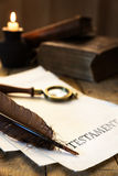 Historic parchment with text Testament Stock Images
