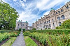 Historic parliament building in the citycenter of Victoria with Royalty Free Stock Image