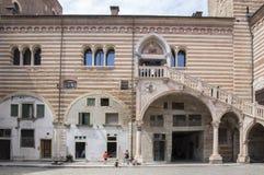 Historic Part Of Verona City, Palace Del Mercato Vecchio Stock Photo