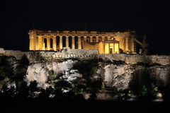 Historic Parthenon of Athens, Greece at Night royalty free stock photo
