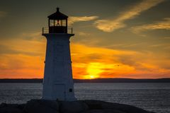 Sunset at Peggy`s Cove, Nova Scoita royalty free stock image