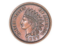 Historic Penny. Replica of the 1877 Liberty US penny coin royalty free stock photography