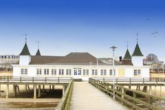 The historic pier of Ahlbeck, Baltic Sea royalty free stock photo