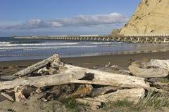 Historic pier in Tolaga Bay in New Zealand. Tolaga Bay long pier in New Zealand Stock Photo