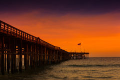 Wooden pier in Ventura California at sunset Royalty Free Stock Photography