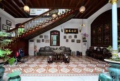 Historic Pinang Peranakan Mansion in Georgetown, Penang. Penang,Malaysia - December 29, 2011: There is a wide space courtyard when entering the Pinang Peranakan Stock Image