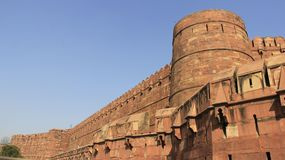Gigantic Red Fort. Historic place gigantic and strong red fort with stone wall and blue sky summertime in Agra India royalty free stock photos