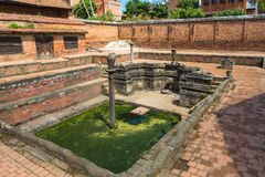 Historic place of water extraction in Bhaktapur town. Royalty Free Stock Photography