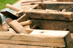 Historic planer. From wooden material Stock Photo