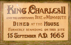 Historic plaque, Poole. Historic ceramic plaque in the centre of Poole, Dorset.  Victorian monument to King Charles II and the Duke of Monmouth who went on to Stock Photo